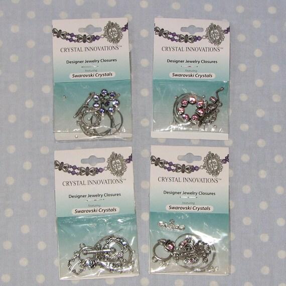 Lot of 10 Swarovski Toggle Clasps Aqua Blue Rose Purple Tanzanite bracelet kits NEW  - destash