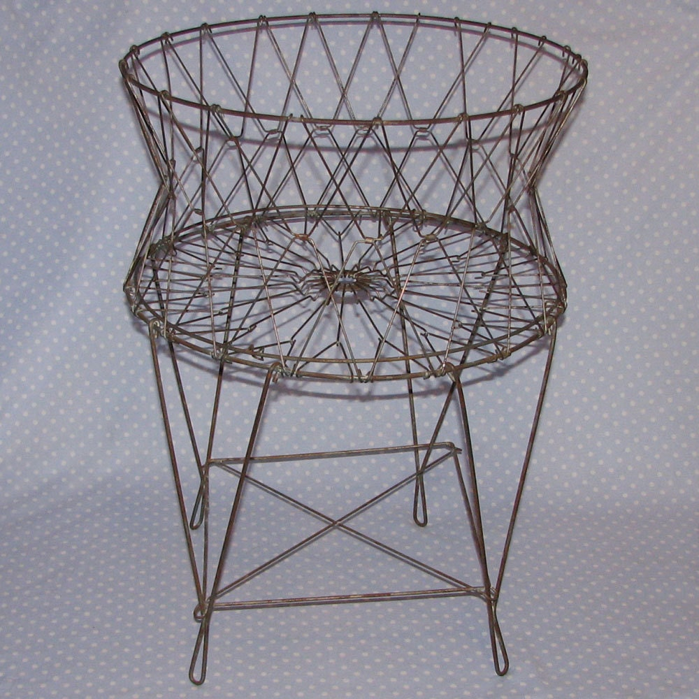 Vintage Wire Laundry Hamper Basket Industrial French Shabby