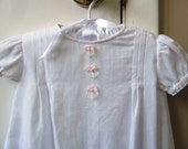 Baby Girl Baptismal Christening Gown Pink Ribbon and Pearls