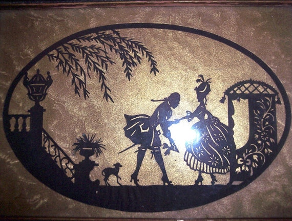 Vintage Sillouette black cut out tray Shadow Art 1920's