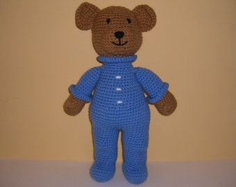 Crocheted Stuffed Teddy Bear in Pajamas