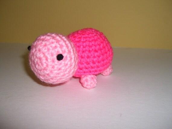 Crocheted Stuffed Amigurumi Pink Turtle