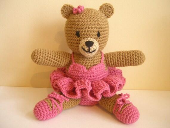 Crocheted Stuffed Amigurumi Ballerina Bear in Raspberry Tutu