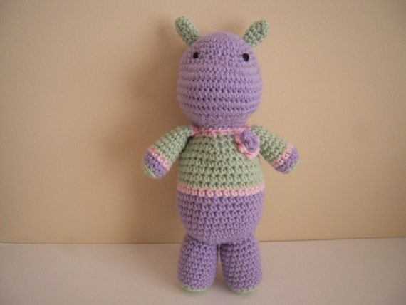 Crocheted Stuffed Hippo with Flower