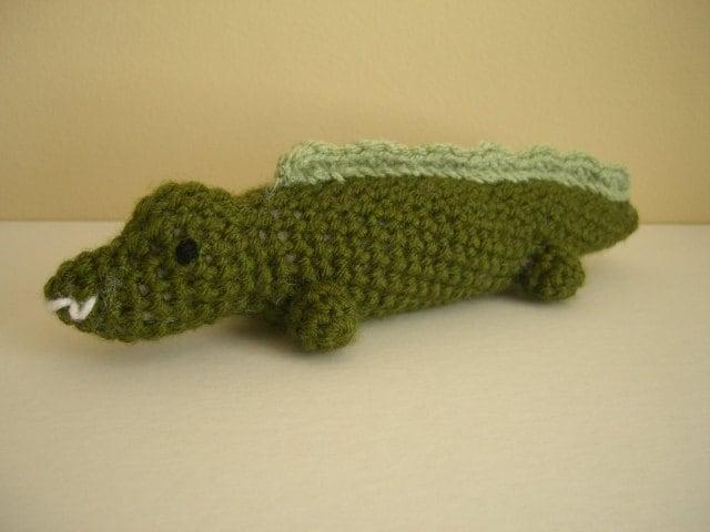 Crocheted Stuffed Amigurumi Alligator