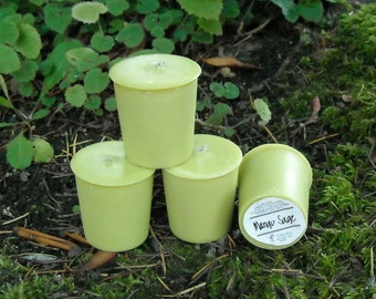 mango sage soy and and palm wax votives