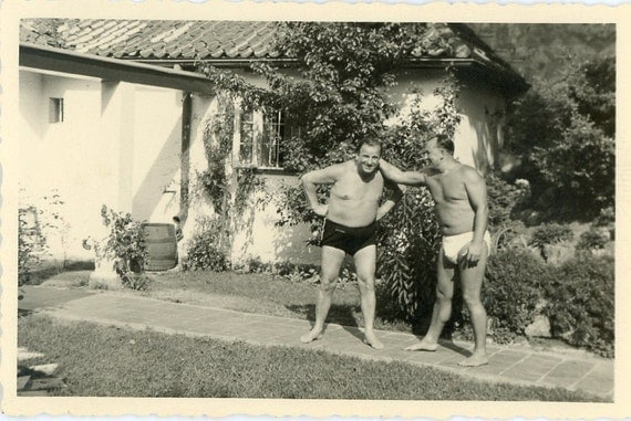 Vintage Photo, Men, Man, Brother, Father, Guy, Beard, Mustache, Suit - About To Go Swimming
