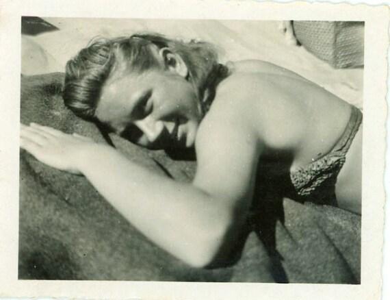 "Vintage Photo ""Sunbathing Beauty"", Photography, Paper Ephemera, Snapshot, Old Photo, Collectibles - LBS003"