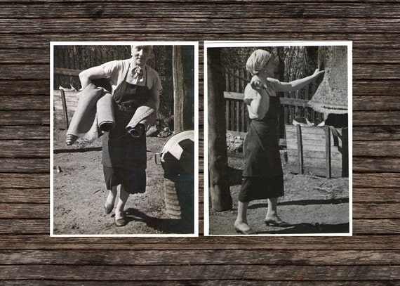"""Two Vintage Photo """"A Woman's Job is Never Done"""", Photography, Paper Ephemera, Snapshot, Old Photo, Collectibles"""
