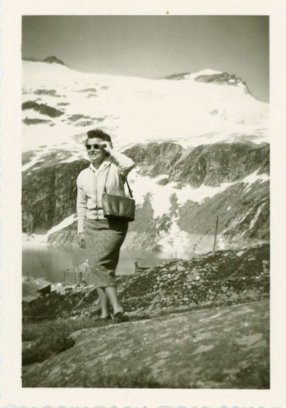 "Vintage Photo ""Touring the Mountain Side"", Photography, Paper Ephemera, Snapshot, Old Photo, Girl, Women, Collectibles - JL015"