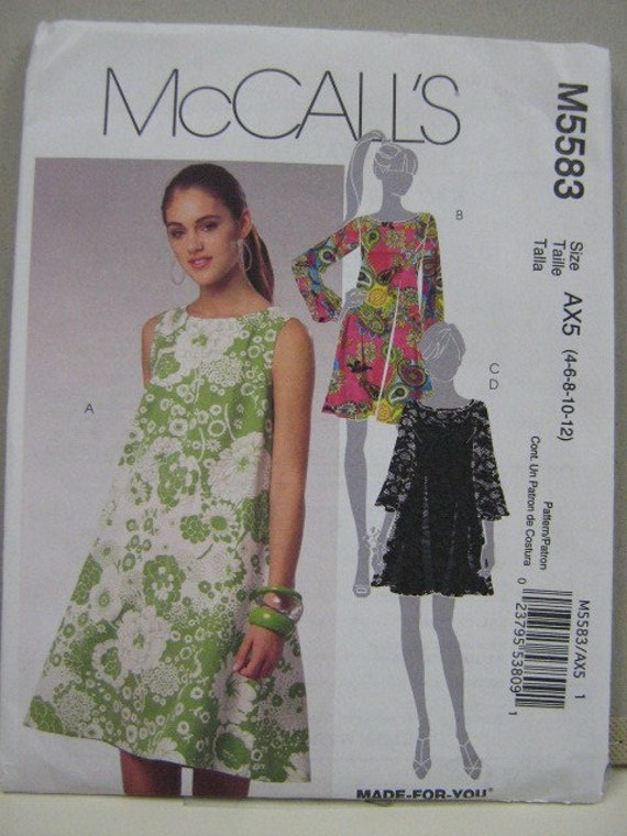 Retro Style Dress Pattern Mc Call's 5583 OOP sz 4 through 12