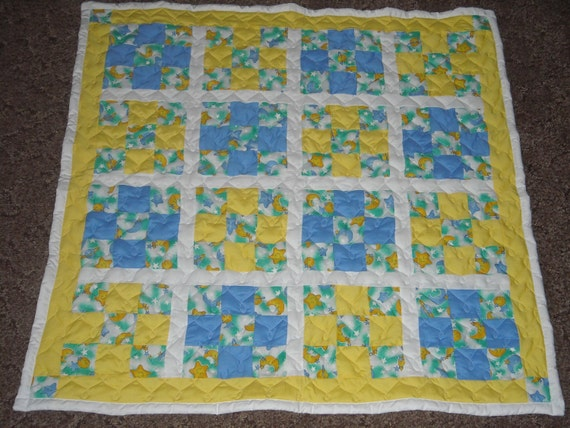 """Blue and Yellow Moon and Stars Large Baby Quilt Great for Baby Boy 46"""" x 46"""" READY TO SHIP"""