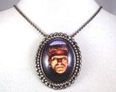 Boris Karloff's Frankenstein Gunmetal Pendant and Brooch Combo Necklace