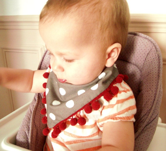 Baby girl bandana bib scarf brown and white polka dots with funny red pompom application