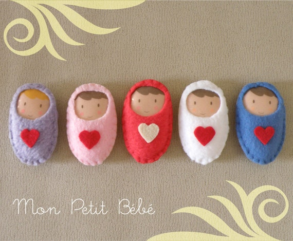 New Baby Brooch Keychain and Congratulations Cards made of soft fleece and sweet felt heart
