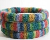 Handmade Woolen Bangle Bracelet STRIPED