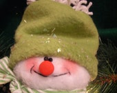 Reserved for SAMSCROCHET Adorable Plush SNOWMAN ORNAMENT with Green Hat