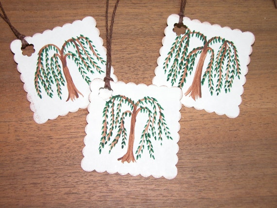 8 Hand Painted Willow Tree Blank Gift Tags