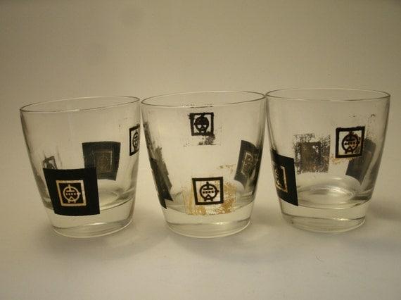 SALE 3 Vintage Black Gold Mid Century Swanky Swigs Barware Lowball Whiskey Glasses