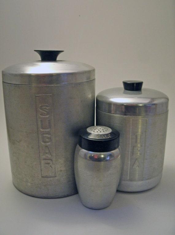 Reserved for Marianna - Vintage Brushed Metal Silver Kitchen Canisters - Tea & Salt Only