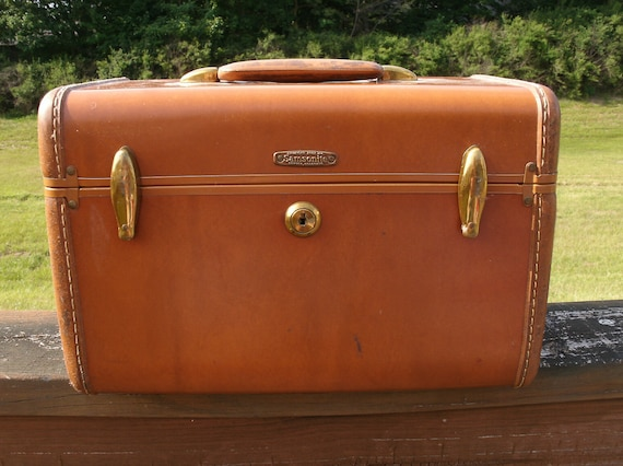 Vintage Brown Tan Samsonite Carry On Luggage Train Case - With Initials MLC