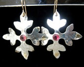 Floral Silver & 14K GF Earrings with Pink Tourmaline stones-Free Shipping