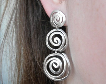 STOCK SALE~20% Discount ***Coupon CHRISTMASALE112***Swirle Sterling Silver Post earrings