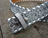 Leather belt strap: Grey whipstitch