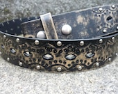 Leather belt strap: Black decorative/distressed