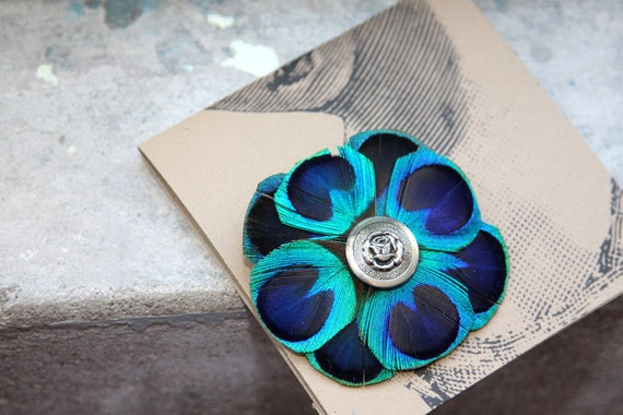 Beautiful Peacock Feather Flower Brooch with Vintage Button Accent