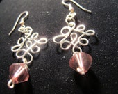 Silver wire princess earrings with purple crystals