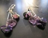 Silver earrings triple heart wire wrapped, purple, lavender Swarovski crystal hearts, heart earrings, valentine's day, long earrings