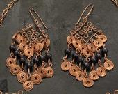 Copper wire wrapped chandelier earrings blue Swarovski crystal pearls and spirals, statement earrings, filigree, long earrings