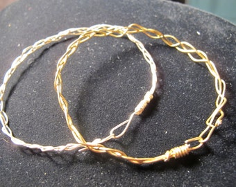 Brass and silver wire braided bangle bracelets