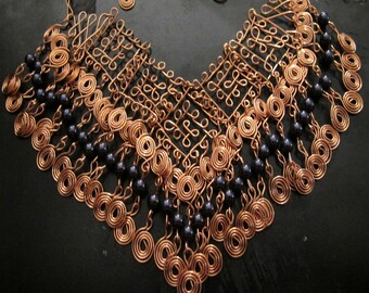 Copper wire wrapped bib necklace blue Swarovski crystal pearls, spirals, filigree design, statement necklace