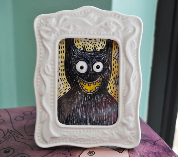 Doodle Monster - Original painting with frame