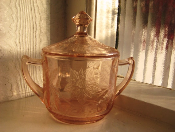 Jeannette Pink Poinsettia Sugar Bowl