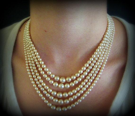 Stunning Mid Century 1950's 5 Strand Pearl Bead Necklace