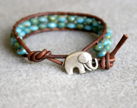 Turquoise Picasso Boho beach beaded distressed leather wrap bracelet, good luck elephant, 1x Wrap bracelet, Chan Luu style