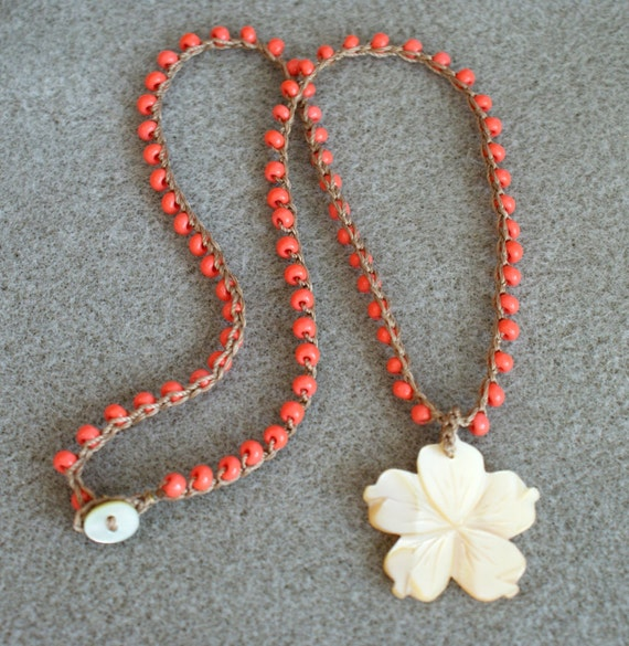 OOAK Coral and Flower Shell pendant boho Crochet necklace, bohemian jewelry, pink, beige, summer