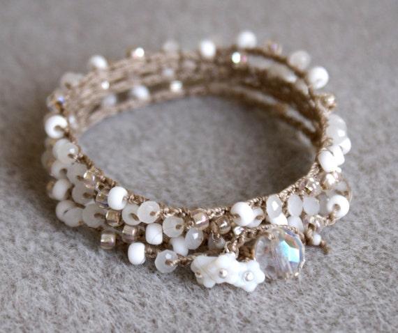 White flowers bohemian crochet wrap bracelet, long necklace, boho chic, bohemian jewelry, bridal, crystals, wedding, SALE