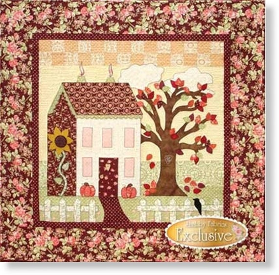 Little garden house in autumn quilt pattern by shabby fabrics for House pattern