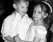 Wedding Dance -  fine art black and white photography -  Mini bride and groom during their first dance. 5x5