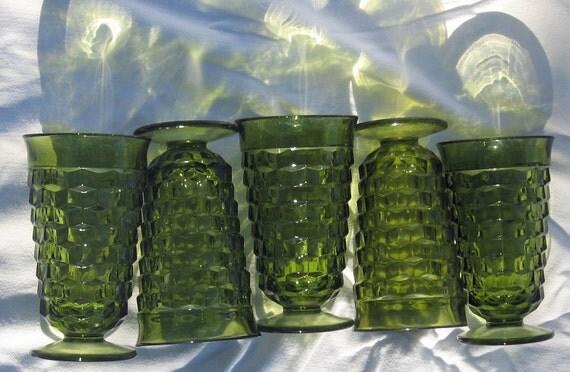 green goblets    large cube geometric square glasses