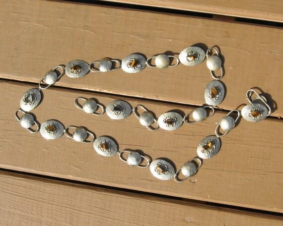 concho belt nickel w tigers eye