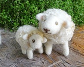 Needle felted sheep family - Mommy, Daddy and baby sheep