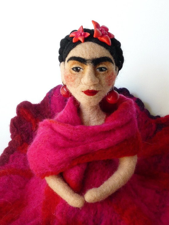 The Familiar Faces - Frida Kahlo art doll / one of a kind needle felted wool sculpture