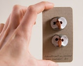 OWL ceramic BUTTONs, set of 2, perfect addition to kids knitting project, autumnal hat, winter coat, handshaped in terracotta