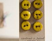 warm yellow ceramic buttons, set of 6, small, flat and round, handmade in Ireland, karoArt ceramics