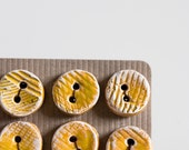 handmade buttons, set of 6 small round yellow textured ceramic buttons, spring fashion accessories, by karoArt, made in Ireland